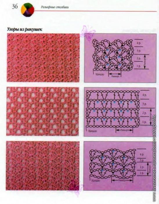 Вязания на спицах ажурные ракушки