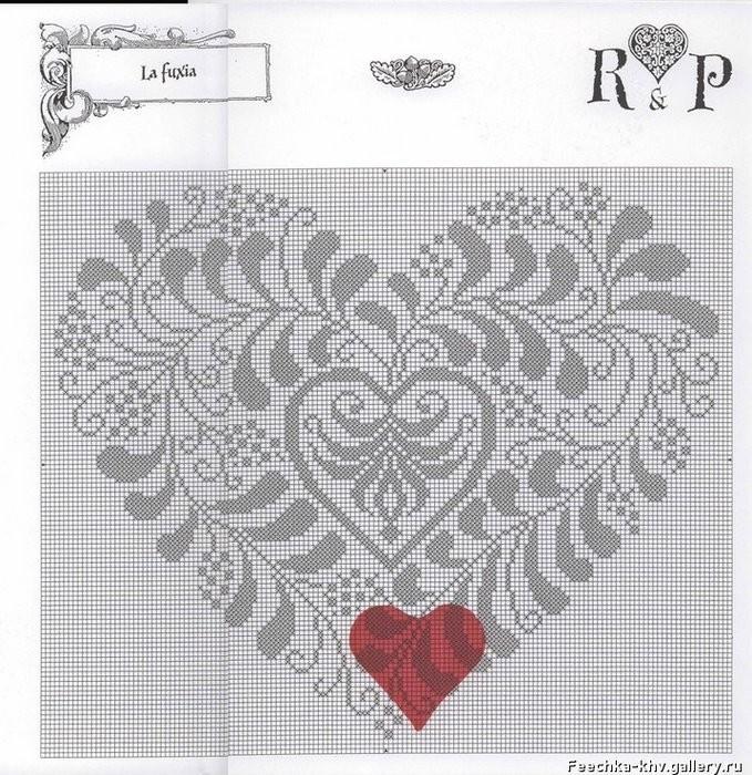 Вышиваем романтичные сердечки, схемы вышивки. свой цитатник или сообщество!
