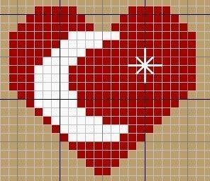 Рисунок сердечка для вышивки