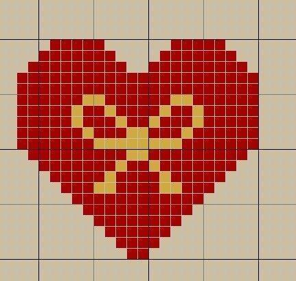 Сердце для вышивки крестиком 297