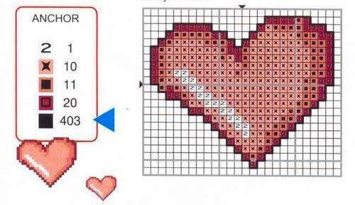 Вышивки сердца схемы 75