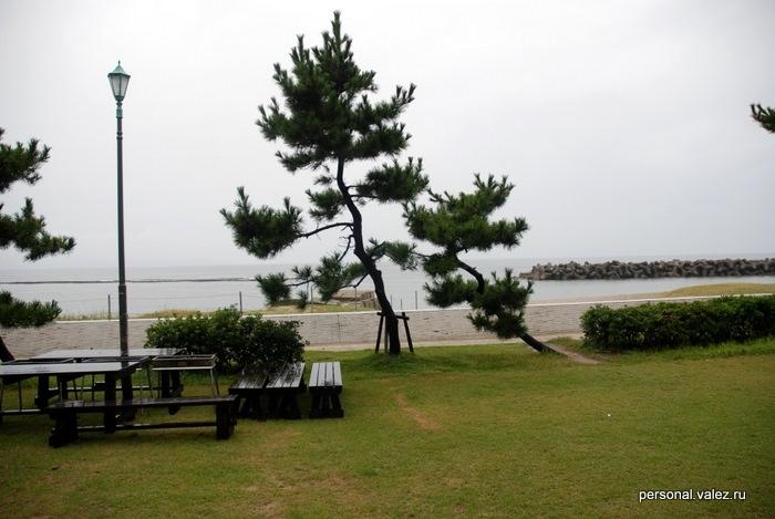 Выходим из отеля на пляж, на улице дождь