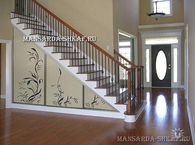 Шкафы купе фото дизайн встроенные под лестницей