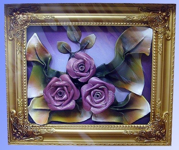 Картина, панно, : розы из кожи Кожа.