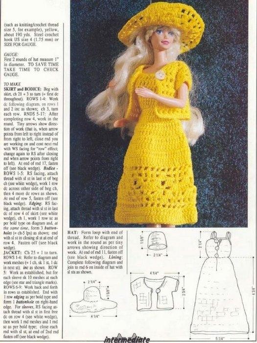 Вязание крючком платьев для барби со схемами