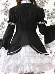 Черно-белое классическое платье впереди оборки и галстук. Нижняя юбка прилагается. Чулки исключены
