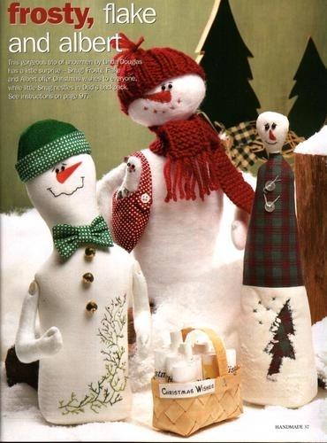1. Снеговики с выкройками.  Новогодние снеговички.