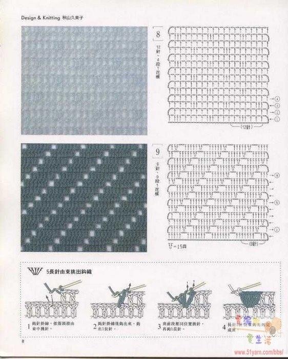 простые узоры для вязания КРЮЧКОМ со схемами.