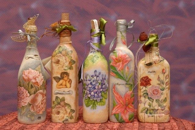 Идеи для декупажа фото бутылок