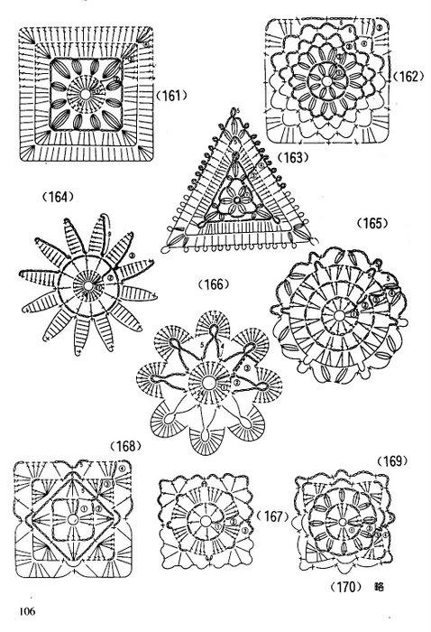 Связать крючком по схемам мотив и цветы по мастер классу.