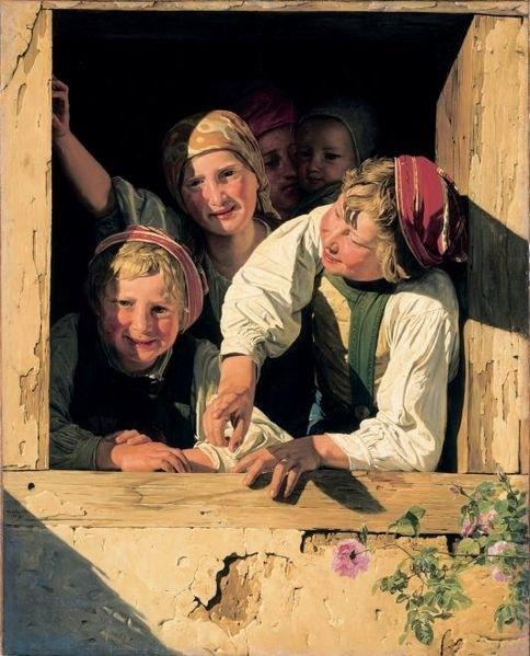 Kinder im Fenster Date 1853