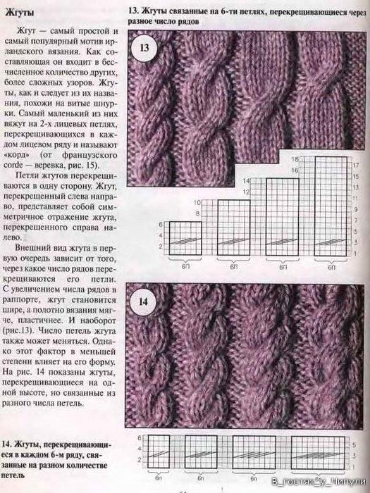 Вязание образцов кос с описанием