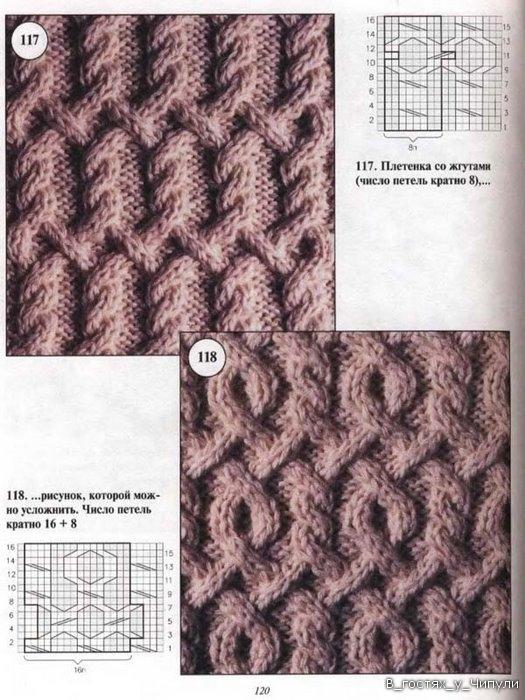 Вязание крупные ромбы спицами и жгуты красивые переплеты 4