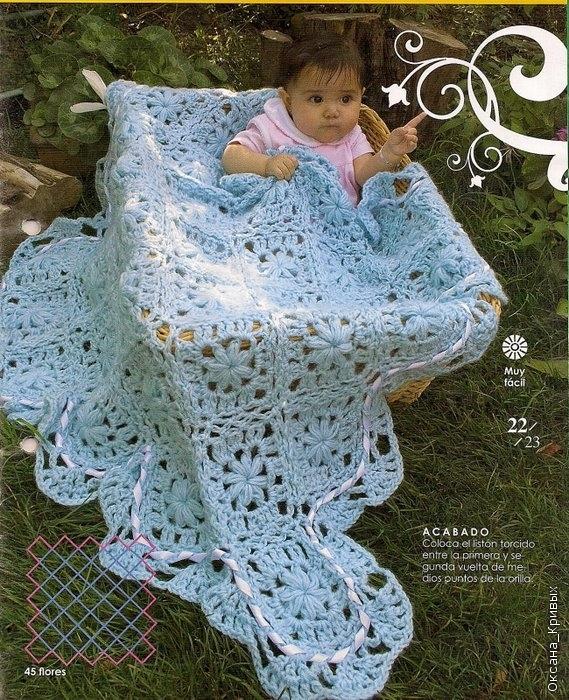 Manta celeste en cuadros con pasacinta a crochet