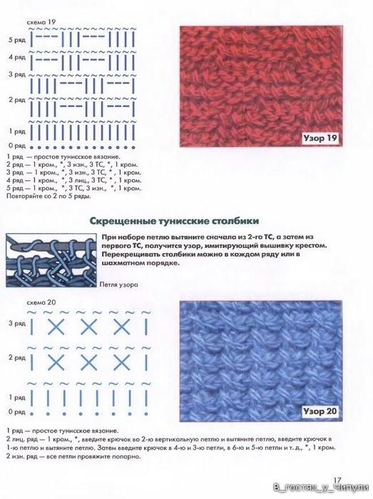 Узоры и схемы вязания тунисским крючком