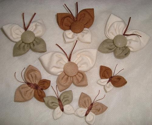 Шитые бабочки из ткани