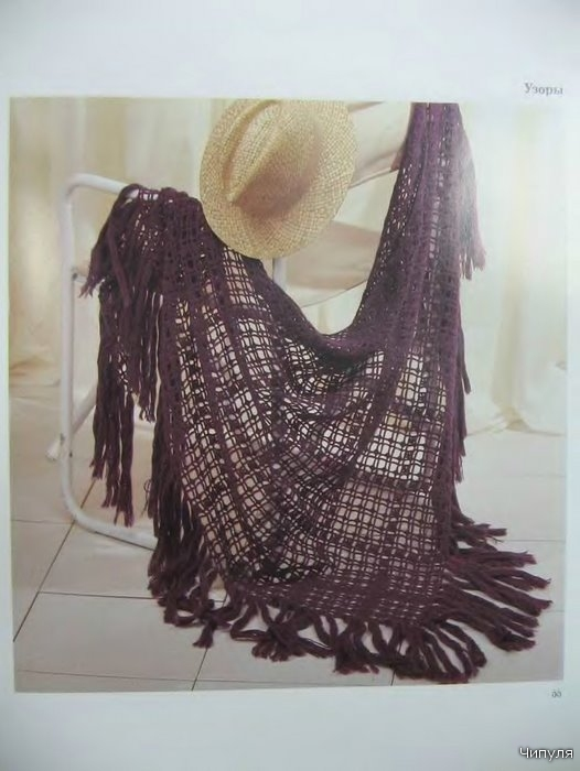 Шали, палантины - Вязание крючком описание вязания ажурной шали.