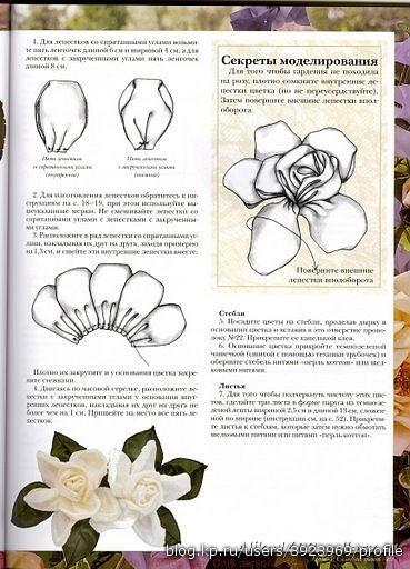 Цветы из лент мастер класс из ткани
