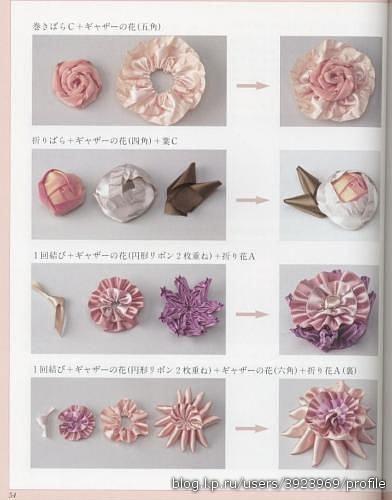1. цветы из лент.