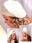 015 Белый берет.  Описание и схемы:, Шапки, шляпки, перчатки и шарфы.