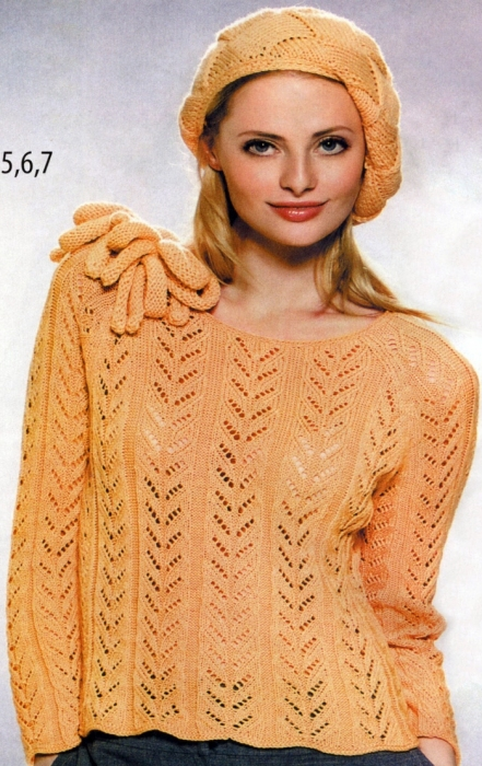 orange sweater knitting