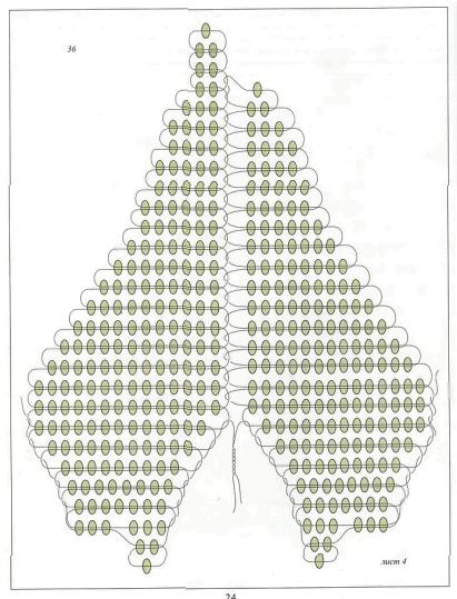 схема листа вьюнка из бисера. зеленый лист сплетенный из бисера.
