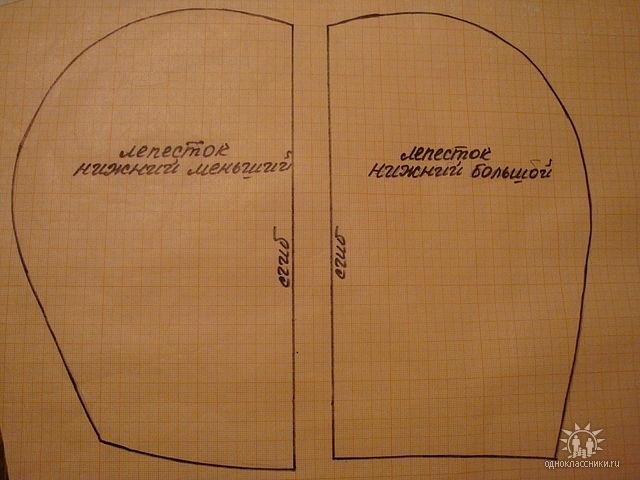 Лекала нижних лепестков по 4 дет каждого и ещё 2 полосы ткани шир.7 см и длиной 1м