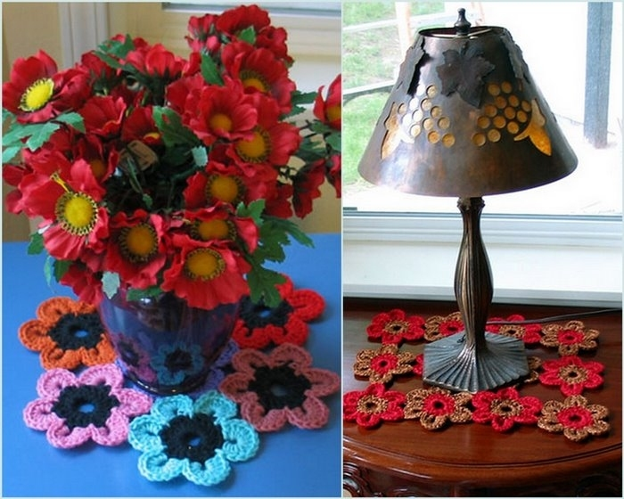 craft home decor: colorful flowers, free crochet pattern ...