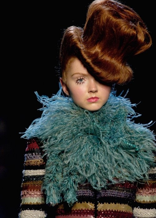 PARIS - JULY 07: (UK OUT) Model Lily Cole walks down the runway at the Jean Paul Gaultier show as part of Paris Haute Couture Collections on July 7, 2006 in Paris, France. (Photo by Andrew Thomas/Catwalking/Getty Images)