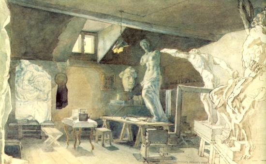 Мастерская.  В мастерской художника.  1925. Бумага, гуашь...
