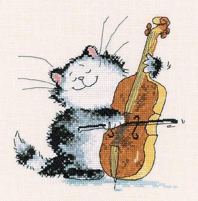 Открытка с днем рождения для скрипача с котиком