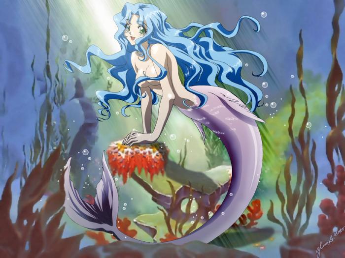 Картинки про аниме русалок