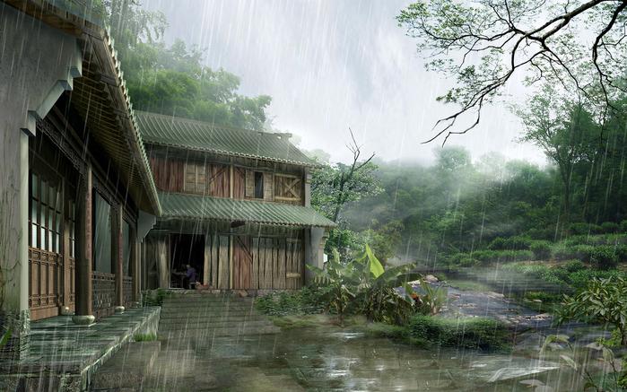 Обои, Японский Дом, Дождь, Дом, Япония, Сарай, 1600x1024, картинки.