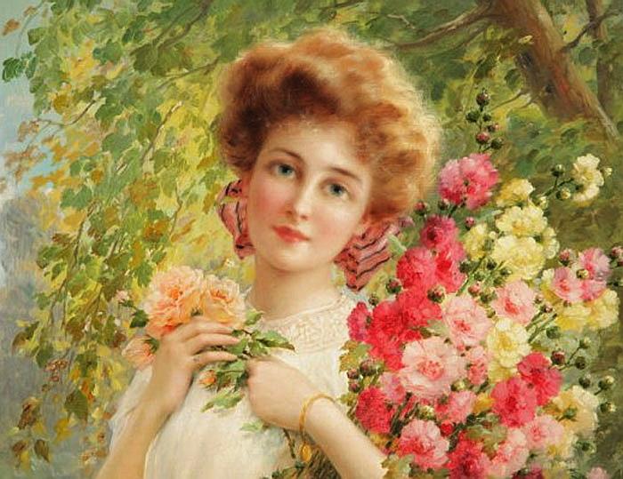 Женска красота и цветы в живописи.