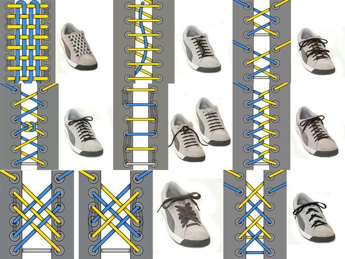 Красиво завязать шнурки в картинках подходе