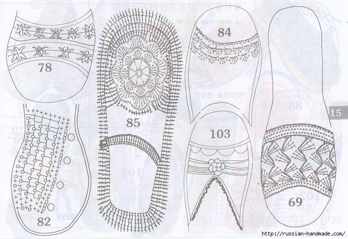 вязаная крючком летняя обувь схемы Russian Handmade
