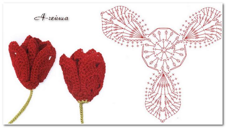 Схема вязания крючком тюльпана 391