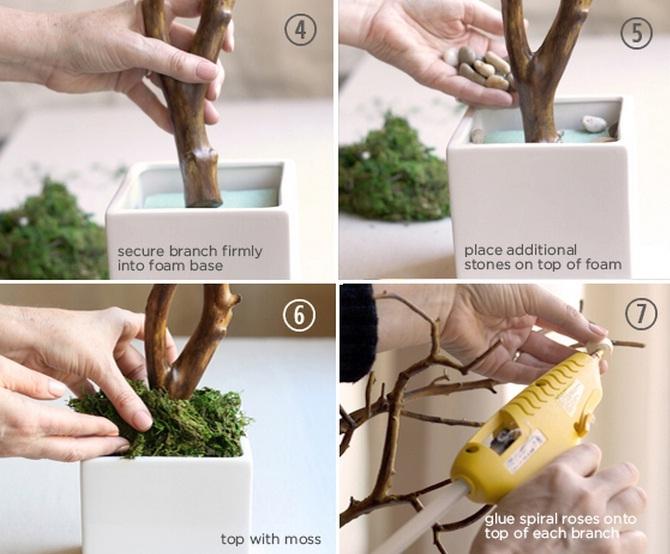 Декоративное деревце с бумажными розочками для украшения интерьера (3) (670x554, 201Kb)