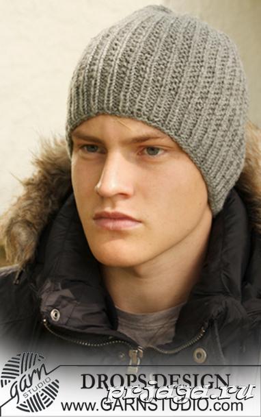схемы вязания мужских шапок спицами