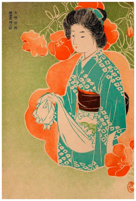Старые японские открытки подмигивает