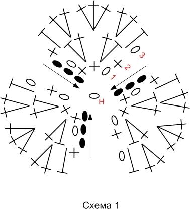 Анютины глазки крючком. Шторка для кухни и цветочная композиция (28) (378x422, 65Kb)