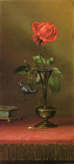 Red Rose and Heliotrope in a Vase (317x700, 165Kb)