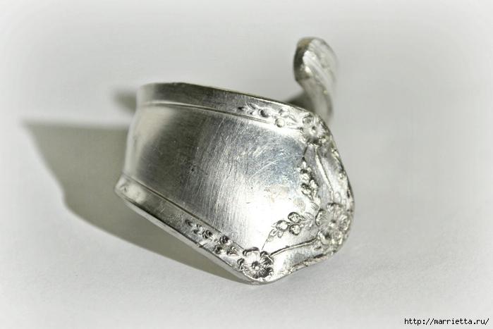 Как сделать кольцо из серебряной ложки (3) (700x467, 172Kb)