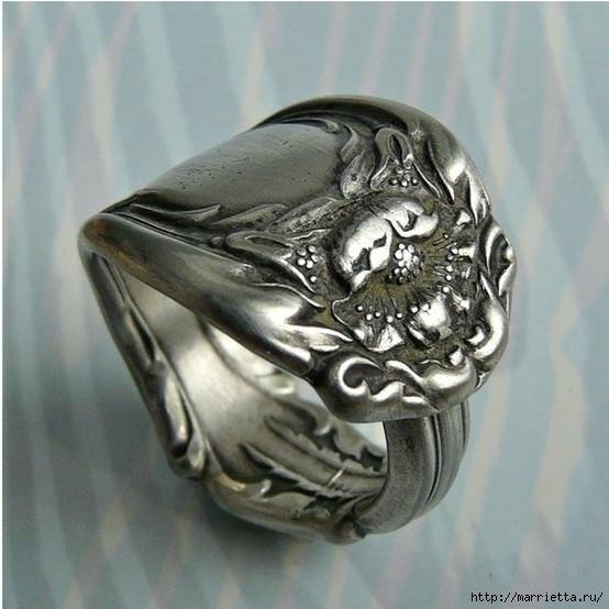 Как сделать кольцо из серебряной ложки (5) (554x554, 166Kb)
