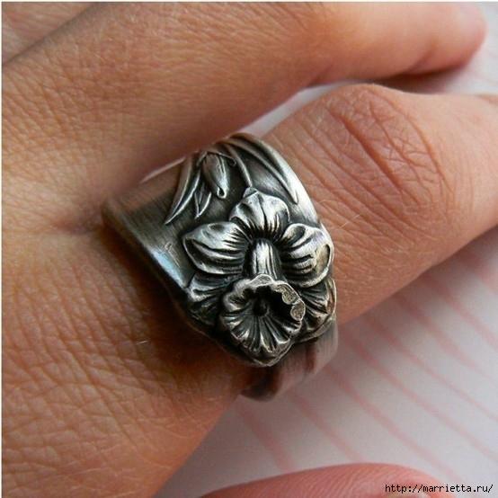 Как сделать кольцо из серебряной ложки (19) (554x554, 174Kb)