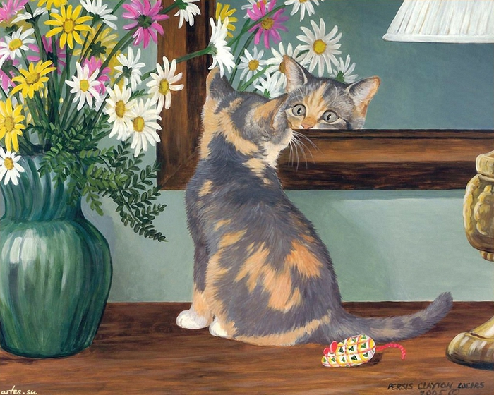 kitty-and-mirror---persis-clayton-weirs-painted (700x560, 325Kb)
