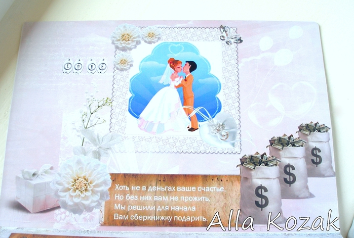 Слова на открытке с деньгами на свадьбу