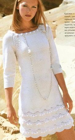 вязание белого осеннего платья со схемой обсуждение на Liveinternet