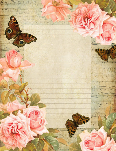 French sheet music lined paper ~ brown butterflies pink roses blue sky (494x640, 120Kb)