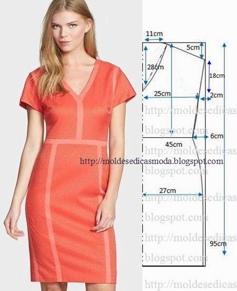 c3c5274aba2 Платье с отделкой контрастными полосами. Выкройка.